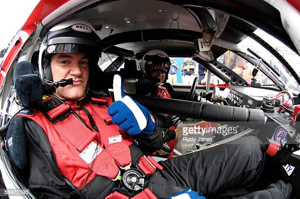 Director Quentin Tarantino goes for a ride with Wally Dallenbach while filming his Wally's World segment before the NASCAR Nextel Cup Series Sharpie...