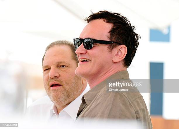 Director Quentin Tarantino has lunch at his hotel with producer Harvey Weinstein on May 17 2009 in Cannes France