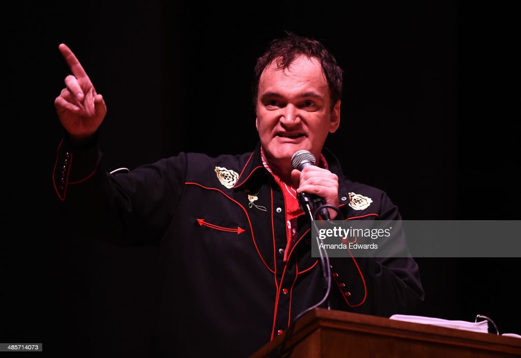 Director Quentin Tarantino participates in the world premiere of a staged reading by Quentin Tarantino: 'The Hateful Eight' presented by Film Independent at The Theatre at Ace Hotel Downtown LA on April 19, 2014 in Los Angeles, California.