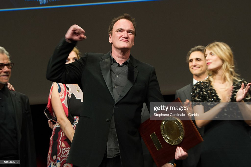 US Director Quentin Tarantino poses after receiving the Lumiere Award, during the 5th Lumiere Film Festival, in Lyon.