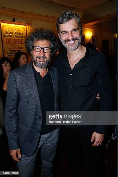 Director Radu Mihaileanu and actor of the piece Francois Vincentelli attend Du vent dans les branches de Sassafras Theater Play Live on France 2 TV...