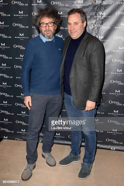 Director Radu Mihaileanu and President of Moma Group Benjamin Patou attend 'Opera en Plein Air' Press Confernce at Hotel Des Invalides on March 20...
