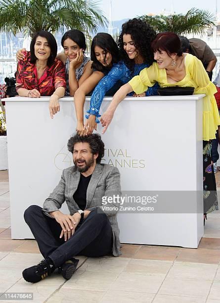 Director Radu Mihaileanu with actresses Hiam Abbass Hafsia Herzi Leila Bekhti Sabrina Ouazani and Biyouna attend the 'La Source Des Femmes' Photocall...