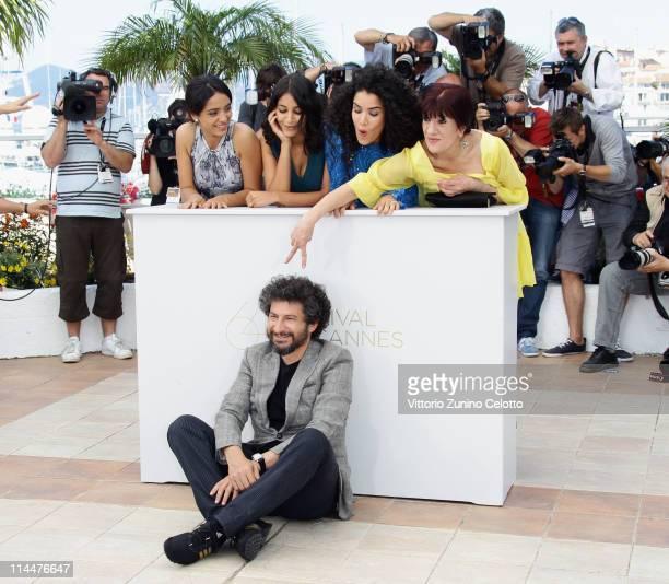 Director Radu Mihaileanu with actresses Hiam Abbass Hafsia Herzi Leila Bekhti Sabrina Ouazani and Biyouna attend the La Source Des Femmes Photocall...