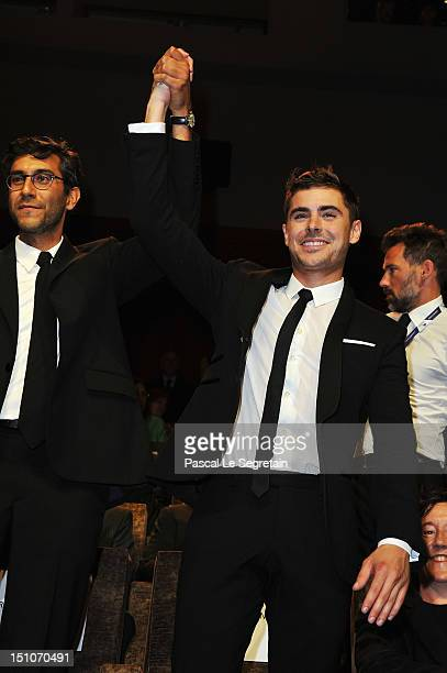 Director Ramin Bahrani and actor Zac Efron attend the At Any Price premiere during the 69th Venice Film Festival at the Palazzo del Cinema on August...