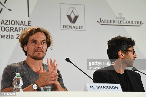 Director Ramin Bahrani sits next to actor Michael Shannon wearing a JaegerLeCoultre Duometre a Quantieme Lunaire watch attends the '99 Homes' press...