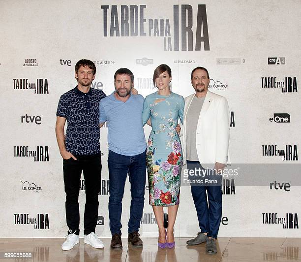Director Raul Arevalo actor Antonio de la Torre actress Ruth Diaz and actor Luis Callejo attend the 'Tarde para la ira' photocall at Palafox cinema...