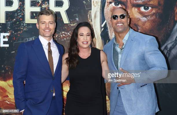 Director Rawson Marshall Thurber executive producer Dany Garcia and actor/producer Dwayne Johnson attend the Skyscraper New York premiere at AMC...