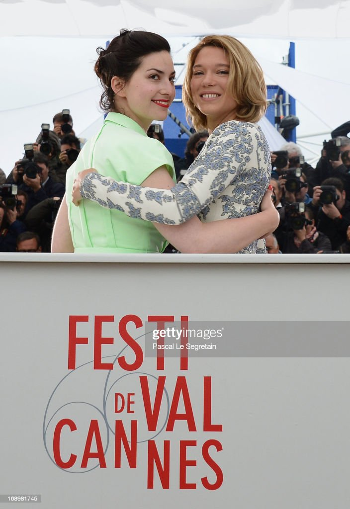 Director Rebecca Zlotowski (L) and actress Lea Seydoux attends the 'Grand Central' Photocall during The 66th Annual Cannes Film Festival at Palais des Festivals on May 18, 2013 in Cannes, France.