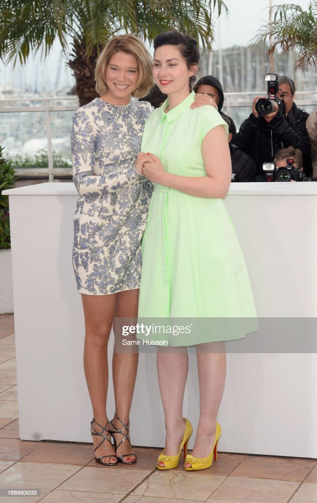 Director Rebecca Zlotowski (R) and actress Lea Seydoux attends the 'Grand Central' Photocall during The 66th Annual Cannes Film Festival at Palais des Festivals on May 18, 2013 in Cannes, France.