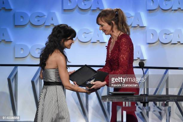 Director Reed Morano accepts the award for Outstanding Directorial Achievement in Dramatic Series for 'The Handmaid's Tale' episode 'Offred' from...