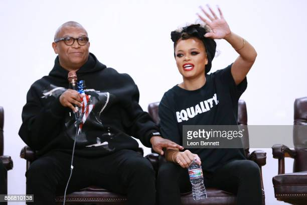 Director Reginald Hudlin and music artist Andra Day attends the Compton High School Student Screening Of Open Road Films' 'Marshall' at Compton High...