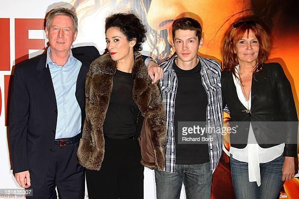 Director Regis Wargnier and actors Rachida Brakni Cyril Descours and Clementine Celarie attend the Paris Premiere of 'La Ligne Droite' at Cinema...