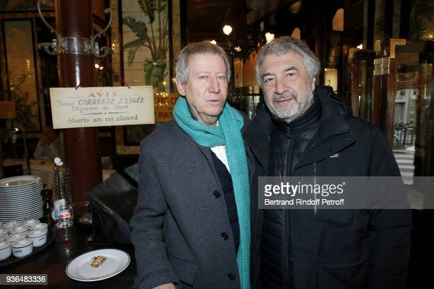 Director Regis Wargnier and Agent Francois Samuelson attend the 83rd Prix Cazes de la Brasserie Lipp Literary Prize at Brasserie Lipp on March 22...