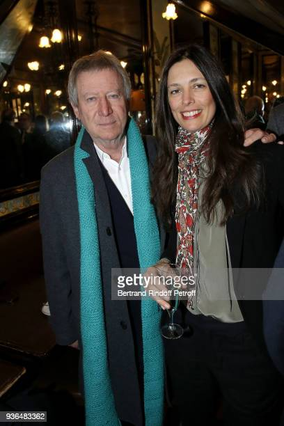 Director Regis Wargnier and Lea Santamaria attend the 83rd Prix Cazes de la Brasserie Lipp Literary Prize at Brasserie Lipp on March 22 2018 in Paris...