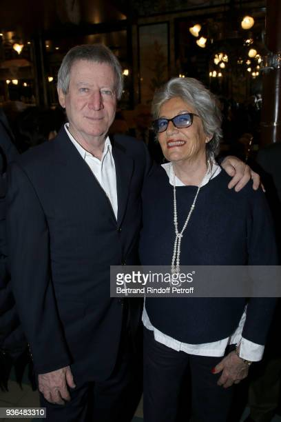 Director Regis Wargnier and Mariella Bertheas attend the 83rd Prix Cazes de la Brasserie Lipp Literary Prize at Brasserie Lipp on March 22 2018 in...