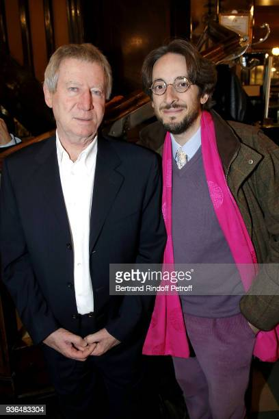 Director Regis Wargnier and Nicolas d'Estienne d'Orves attend the 83rd Prix Cazes de la Brasserie Lipp Literary Prize at Brasserie Lipp on March 22...