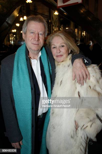 Director Regis Wargnier and Writer Marie Dabadie attend the 83rd Prix Cazes de la Brasserie Lipp Literary Prize at Brasserie Lipp on March 22 2018 in...