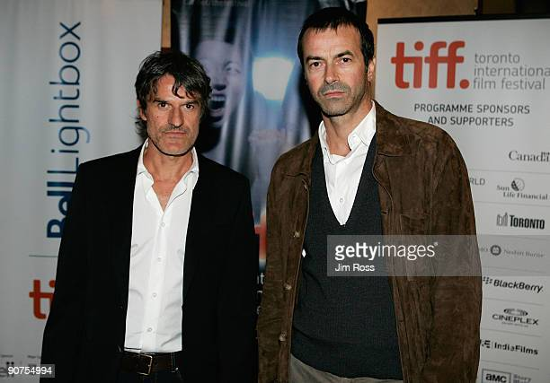 Director Renato de Maria and producer Andrea Occhipinti arrive at the 'Front Line' screening during the 2009 Toronto International Film Festival held...