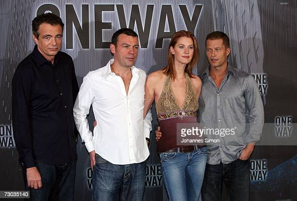 Director Reto Salimbeni Producer Thomas Zickler Canadian actress Lauren Lee Smith and German actor Til Schweiger pose at the photocall of One Way at...
