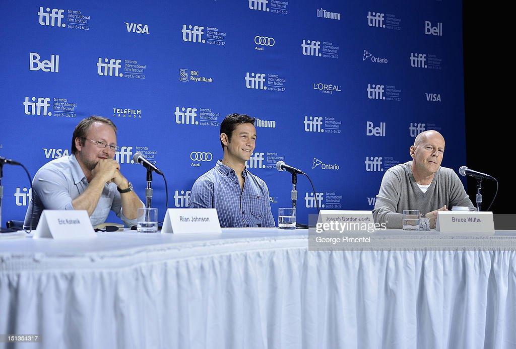 Director Rian Johnson, Actor/Producer Joseph Gordon-Levitt and actor Bruce Willis attend the 'Looper' press conference during the 2012 Toronto International Film Festival at TIFF Bell Lightbox on September 6, 2012 in Toronto, Canada.