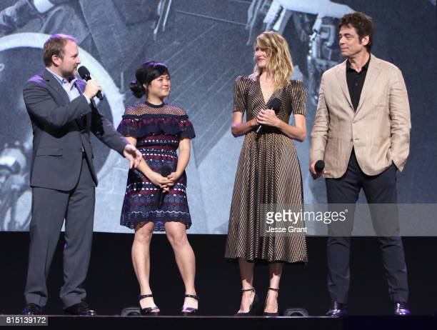 Director Rian Johnson actors Kelly Marie Tran Laura Dern and Benicio del Toro of STAR WARS THE LAST JEDI took part today in the Walt Disney Studios...
