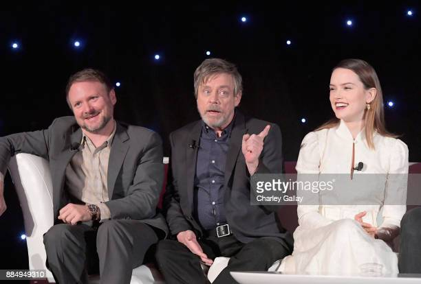 Director Rian Johnson actors Mark Hamill and Daisy Ridley attend the press conference for the highly anticipated Star Wars The Last Jedi at...