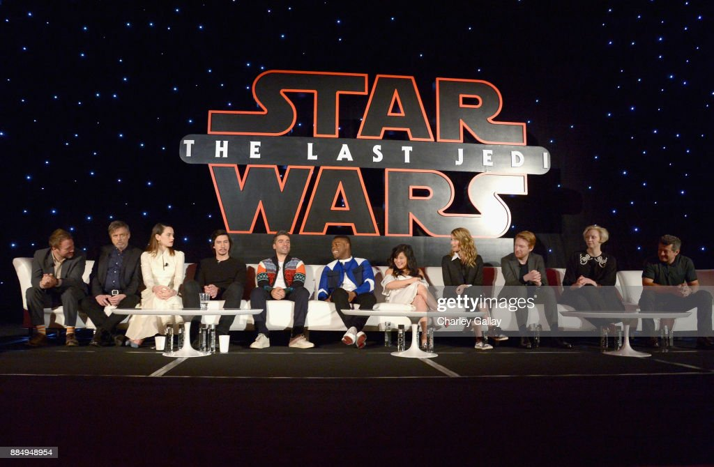 Director Rian Johnson, actors Mark Hamill, Daisy Ridley, Adam Driver, Oscar Isaac, John Boyega, Kelly Marie Tran, Laura Dern, Domhnall Gleeson, Gwendoline Christie and Andy Serkis attend the press conference for the highly anticipated Star Wars: The Last Jedi at InterContinental Los Angeles on December 3, 2017 in Los Angeles, California.