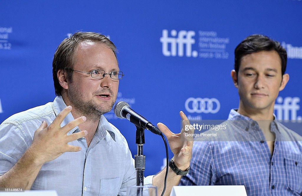 Director Rian Johnson and actor Joseph Gordon-Levitt attend the 'Looper' press conference during the 2012 Toronto International Film Festival at TIFF Bell Lightbox on September 6, 2012 in Toronto, Canada.