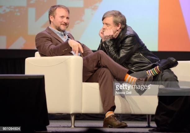 Director Rian Johnson and Mark Hamill speak onstage at the Journey to Star Wars panel during SXSW at Austin Convention Center on March 12 2018 in...
