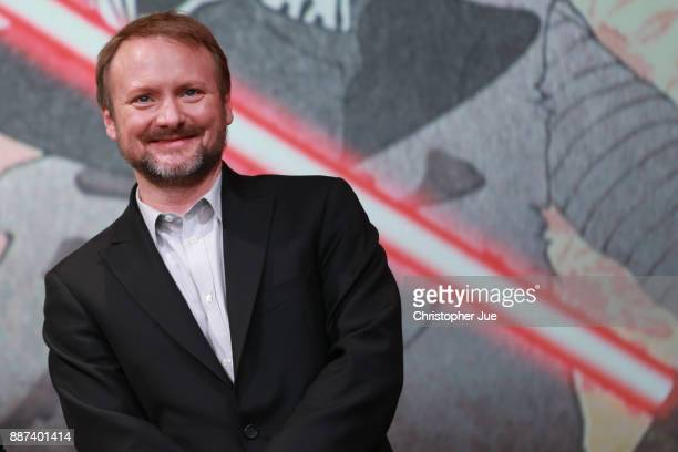Director Rian Johnson attends the 'Star Wars The Last Jedi' press conference at the Ritz Carlton Tokyo on December 7 2017 in Tokyo Japan