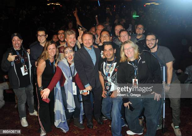 Director Rian Johnson poses with fans at the Opening Night Celebration Of Walt Disney Pictures And Lucasfilm's 'Star Wars The Last Jedi' At TCL...