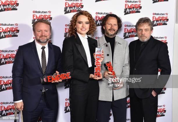 Director Rian Johnson, winner of the Best Director award, actress Daisy Ridley, winner of the Best Actress award, Ram Bergman winner of the Best Film...