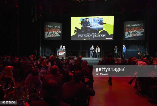 Director Rian Johnson winner of the Best Director award and Producer Ram Bergman on stage during the Rakuten TV EMPIRE Awards 2018 at The Roundhouse...