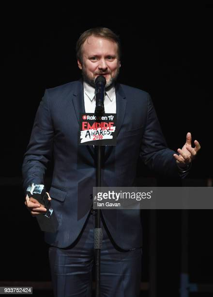 Director Rian Johnson winner of the Best Director award on stage during the Rakuten TV EMPIRE Awards 2018 at The Roundhouse on March 18 2018 in...
