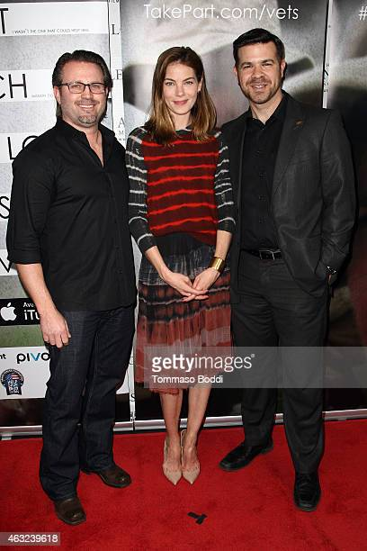 Director Ric Waugh Moderator Michelle Monaghan and veteran Mike Dowling at Participant Medias screening of That Which I Love Destroys Me in Los...