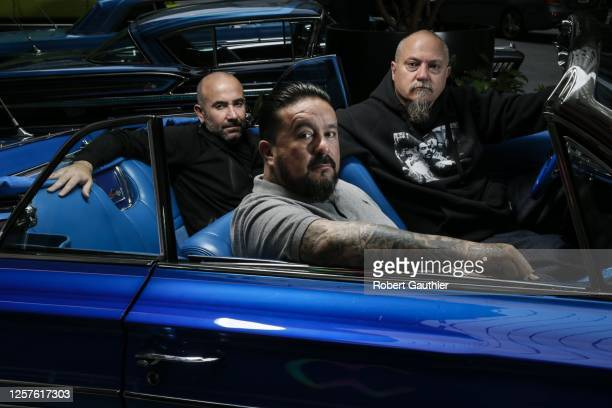 Director Ricardo de Montreuil, tattoo artists and executive producer Mister Cartoon and executive producer Estevan Oriol of 'Lowriders', are...