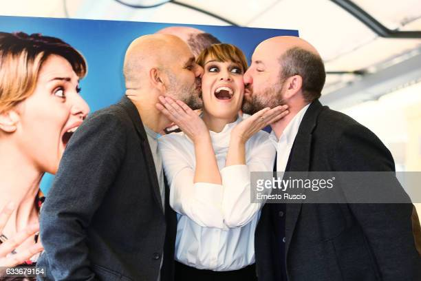 Director Riccardo Milani, Paola Cortellesi and Antonio Albanese attend a photocall for 'Mamma O Papa' movie at Bernini Hotel on February 3, 2017 in...