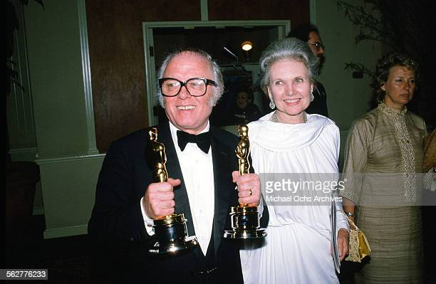 Director Richard Attenborough with his wife Sheila Sim poses backstage during the 55th Academy Awards at Dorothy Chandler Pavilion Los Angeles...