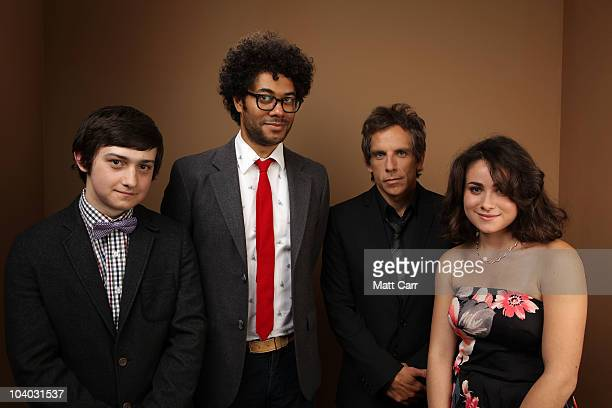 Director Richard Ayoade actor Craig Roberts executive producer Ben Stiller and actress Yasmin Paige from 'Submarine' poses for a portrait during the...