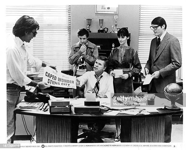 Director Richard Donner actors Jackie Cooper Marc McClure actress Margot Kidder and Christopher Reeve on set of the Warner Bros movie Superman in 1978