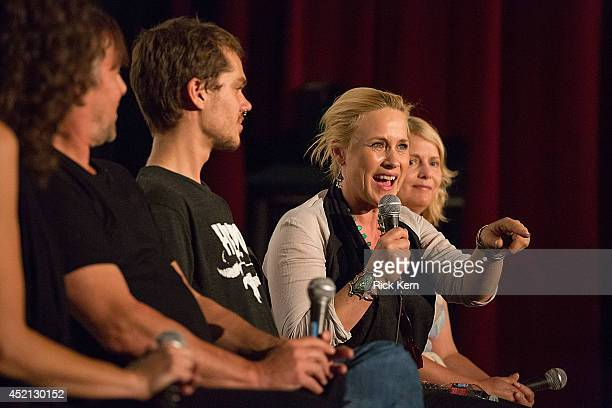 Director Richard Linklater, actor Ellar Coltrane, actress Patricia Arquette, and producer Cathleen Sutherland speak on stage during the premiere of...