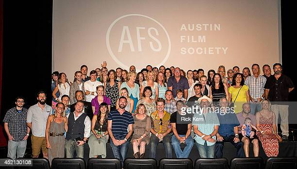 Director Richard Linklater, actor Ellar Coltrane, actress Patricia Arquette, producer Cathleen Sutherland pose for a photo with cast and crew members...