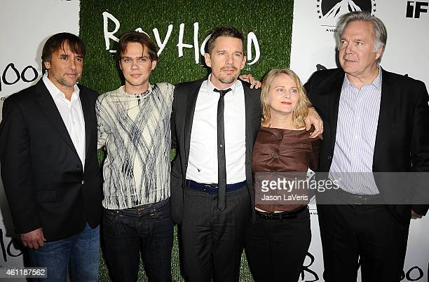 Director Richard Linklater, actors Elllar Coltrane, Ethan Hawke, producer Cathleen Sutherland and IFC Films President Jonathan Sehring attend the...