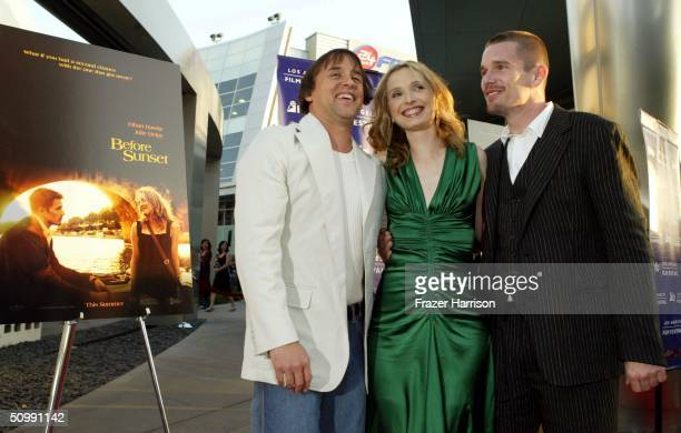 """Director Richard Linklater Actress Julie Delpy and Actor Ethan Hawke at the Los Angeles Film Festival Premiere of """"Before Sunset"""" at the Archlight..."""