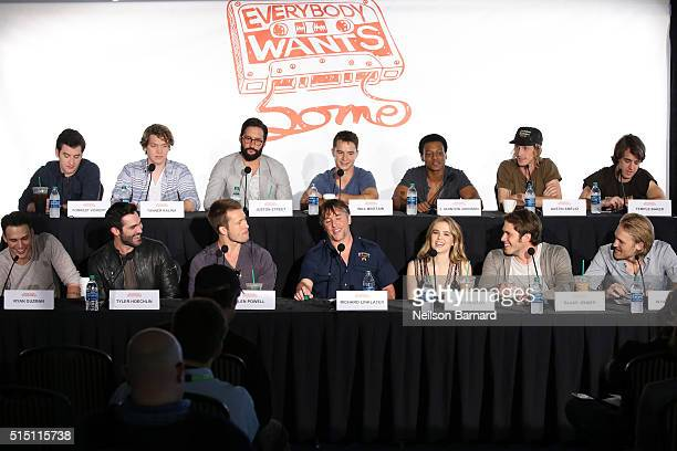 Director Richard Linklater and actors Austin Amelio Wyatt Russell Forrest Vickery Zoey Deutch Glen Powell J Quinton Johnson Tanner Kalina Temple...