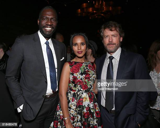 "Director Rick Famuyiwa, Kerry Washington and Greg Kinnear attend the after party for the premiere of HBO Films' ""Confirmation"" at Paramount Studios..."