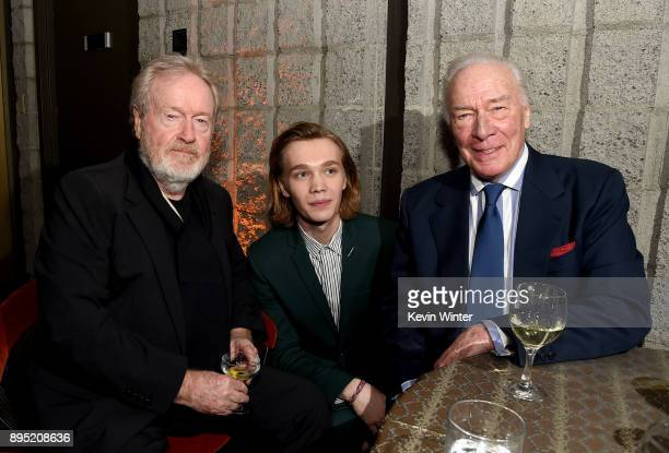 Director Ridley Scott actors Charlie Plummer and Christopher Plummer attend the after party for the premiere of Sony Pictures Entertainment's 'All...