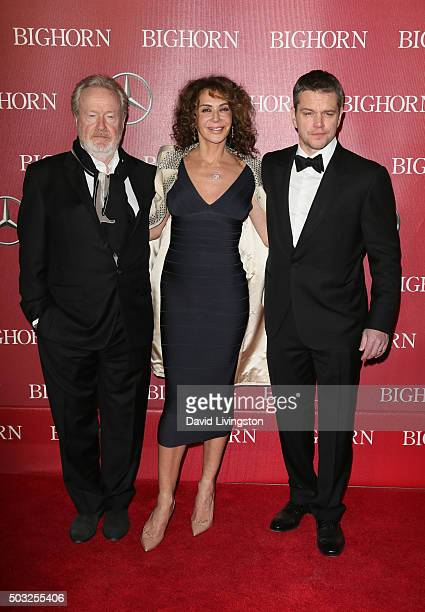 Director Ridley Scott, actress Giannina Facio, and actor Matt Damon attend the 27th Annual Palm Springs International Film Festival Awards Gala at...