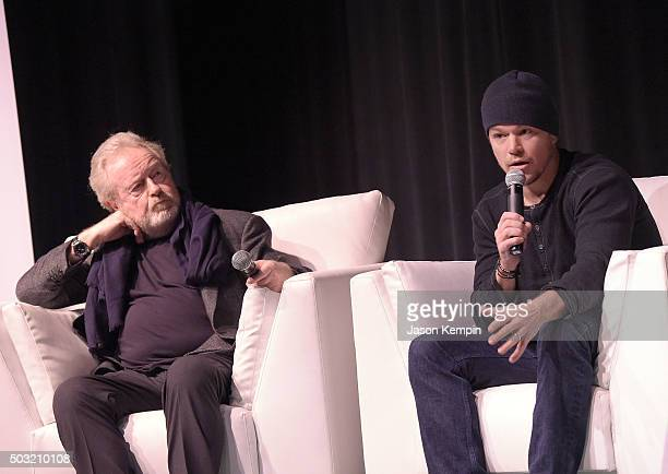 Director Ridley Scott and actor Matt Damon attend the Talking Pictures 'The Martian' QA at the Annenberg Theater on January 2 2016 in Palm Springs...